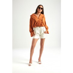 Rust Brown Ruffled Wrap Blouse