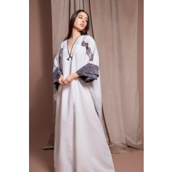 White Oversized Embroidered Kaftan