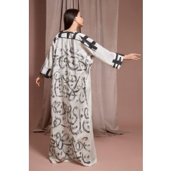 Black & White Calligraphy Kaftan