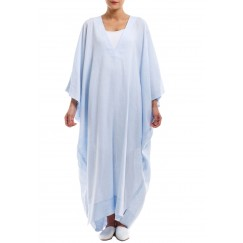 Blue Linen V-Neck Jalabya