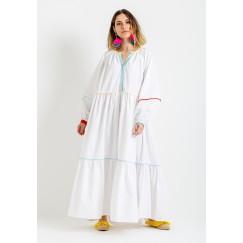 Rainbow White Dress