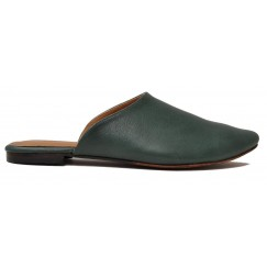 Nakhla Black Almond Toe Leather Mules