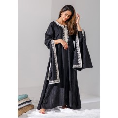 LIMITED EDITION: Black Kaftan with White Embroidered Sleeves