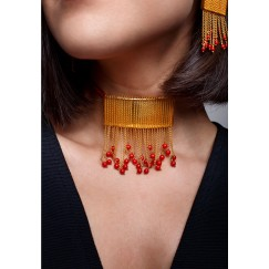 Chained Coral Choker necklace