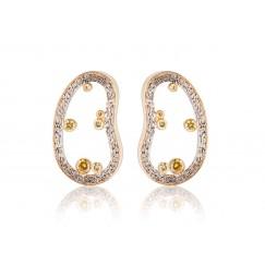 Yellow Cluster Earrings