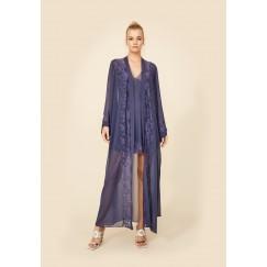 Navy Silk Robe Set
