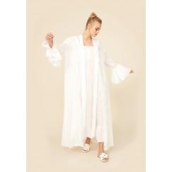 Off White Cotton Robe Set