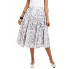White & Black Ruffled Midi Skirt