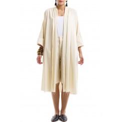 Beige Bisht & Shorts