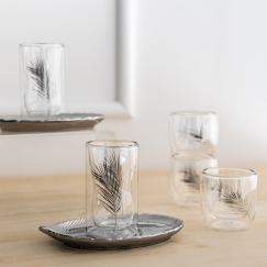 Istikana & Coffee 6pcs Silver Leaf gift
