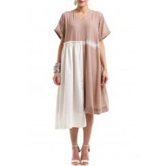 Dusty pink linen dress