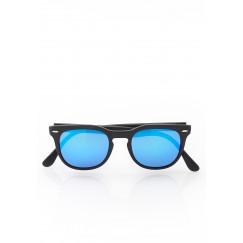 Black blue reflected mirror sunglasses
