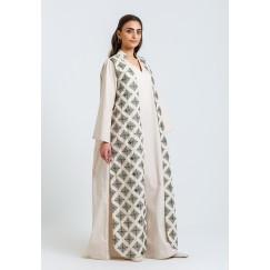 Beige Vest-Like Printed Kaftan