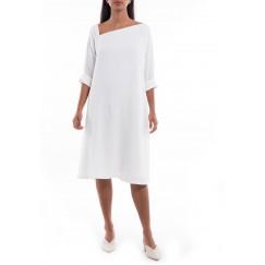 Alaa White Asymmetrical Neck Dress