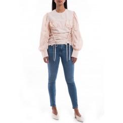 Pink Drawstring Puffed Sleeves Shirt