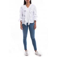 White Ruffled Striped Shirt