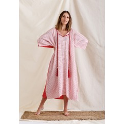 Red & Off-White Printed Kaftan