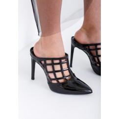 Warda Black Pointed Toe Heels