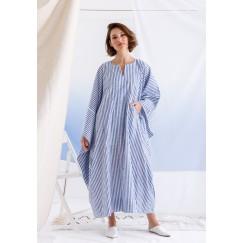 Blue Oversized Striped Pocket Dress