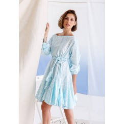 Najla Blue Short Ruffled Dress