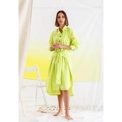 Neon Tie Front Shirt Dress