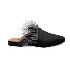 Zayan Black Feathers Cut-Out Mules