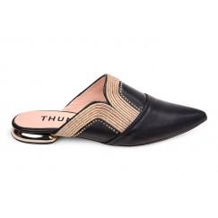 Thuraia Black Leather Mules