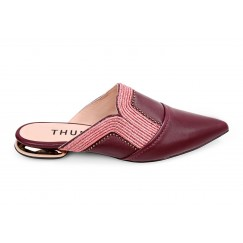 Thuraia Maroon Leather Mules