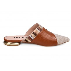 Juman Brown and Beige Leather Mules