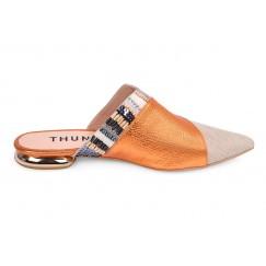 Juman Orange & Beige Leather Mules
