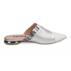 Juman Silver & White Leather Mule