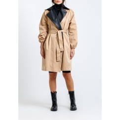 Leather collar trench coat