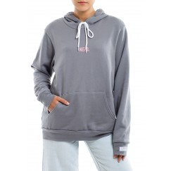 Grey Printed Long Sleeves Hoodie
