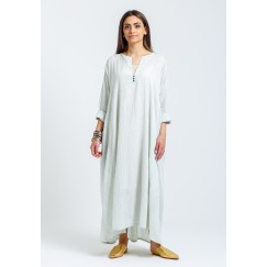 Light Grey Striped Beaded Kaftan