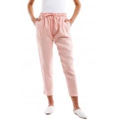 Pink Linen Midi Pants