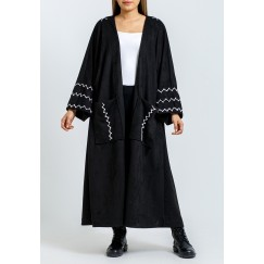 Black Suede Bisht with Off-White Hand Stitching