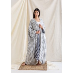 Blue Bisht with Sleeveless Dress