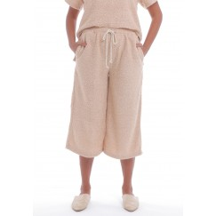 Sand Towel Texture Wide-Legged Pants