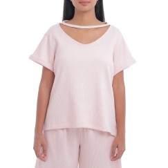 Baby Pink Short Sleeves Top