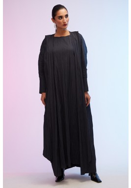 Black Pleated Folded Collar Abaya