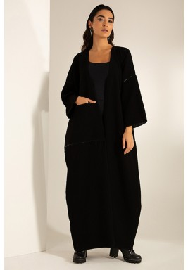 Black Pleated Jumbo Pocket Abaya
