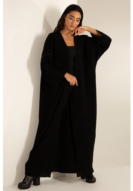 Black Pleated Open Front Abaya