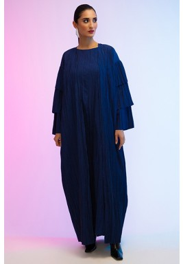 Blue Pleated Layered Sleeves Abaya