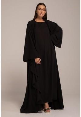 Black Frilled Maxi Long Sleeves Abaya