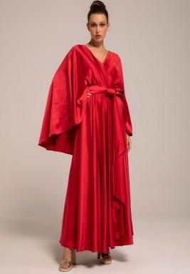 Red Silk Crepe Fairy Sleeves Kaftan