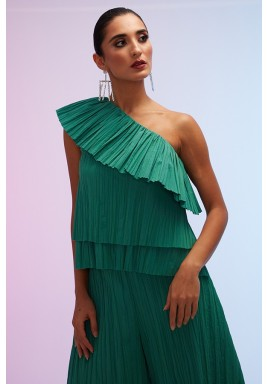 Green One Shoulder Pleated Collar Top