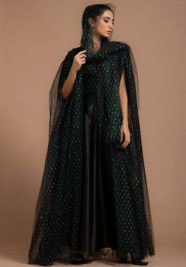 Black Rainbow Tulle Metallic Evening Abaya