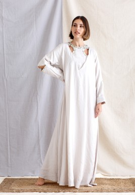 Off-White Pearl Buttons Kaftan
