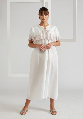 Trimmed Ruffled Cotton Dress