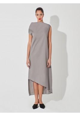 High-neck dress grey
